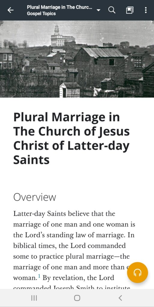 """A screenshot of the """"Plural Marriage in The Church of Jesus Christ of Latter-day Saints"""" topic in the Gospel Library app."""