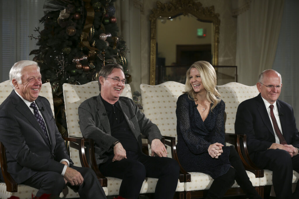 Ron Jarrett, left, president of theTabernacle Choir at Temple Square, Kelli O'Hara, acclaimed singer and actress, actor Richard Thomas, and Mack Wilberg, music director of the Tabernacle Choir, talk about the 2019 Christmas with The Tabernacle Choir concert in Salt Lake City on Thursday, Dec. 12, 2019. The Tabernacle Choir at Temple Square, Orchestra at Temple Square and Bells on Temple Square will perform their annual Christmas concerts in the Conference Center on Temple Square in Salt Lake City on Thursday, Friday, and Saturday, Dec. 12–14, 2019, at 8:00 p.m.