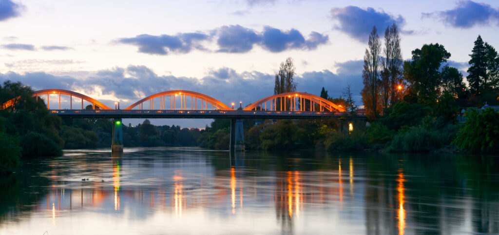 The tri-arch Fairfield Bridge spans the Waikato River near Hamilton, New Zealand.