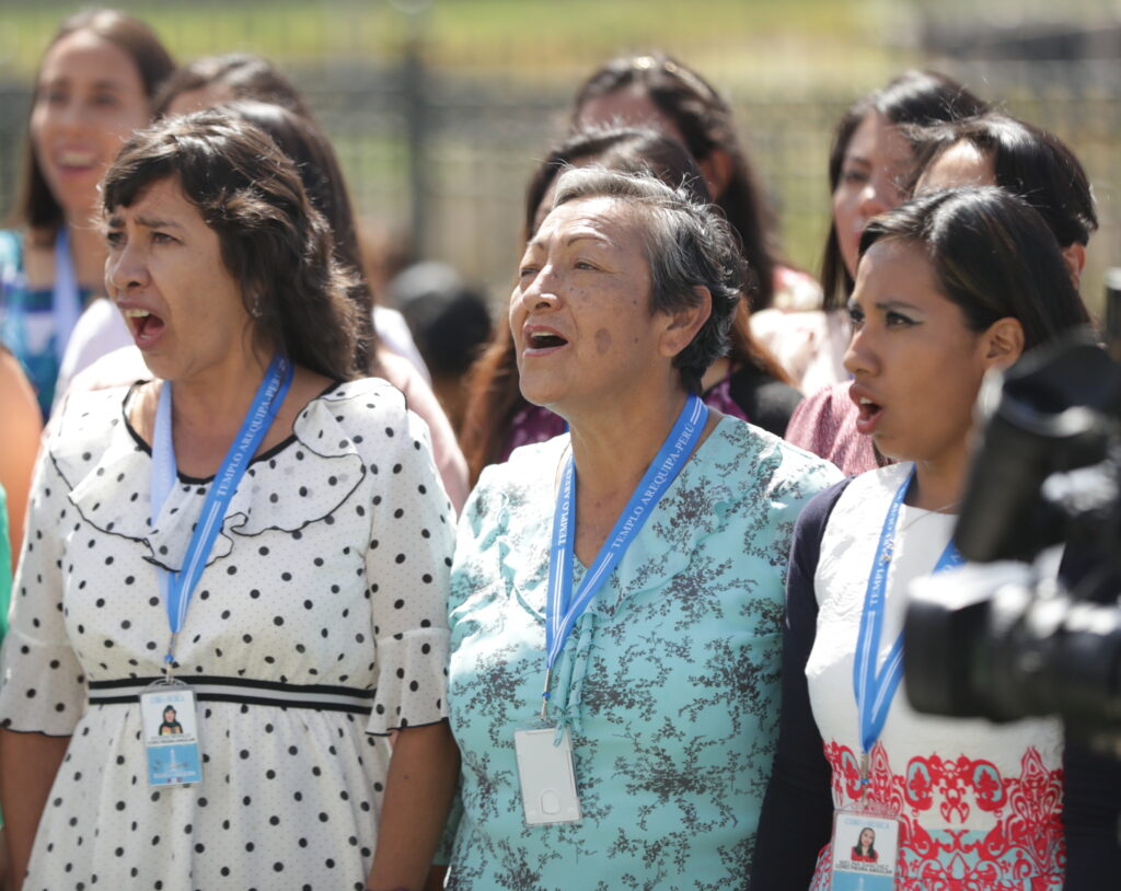Women in the cornerstone choir perform prior to the Dec. 15, 2019, dedication of the Arequipa Peru Temple.