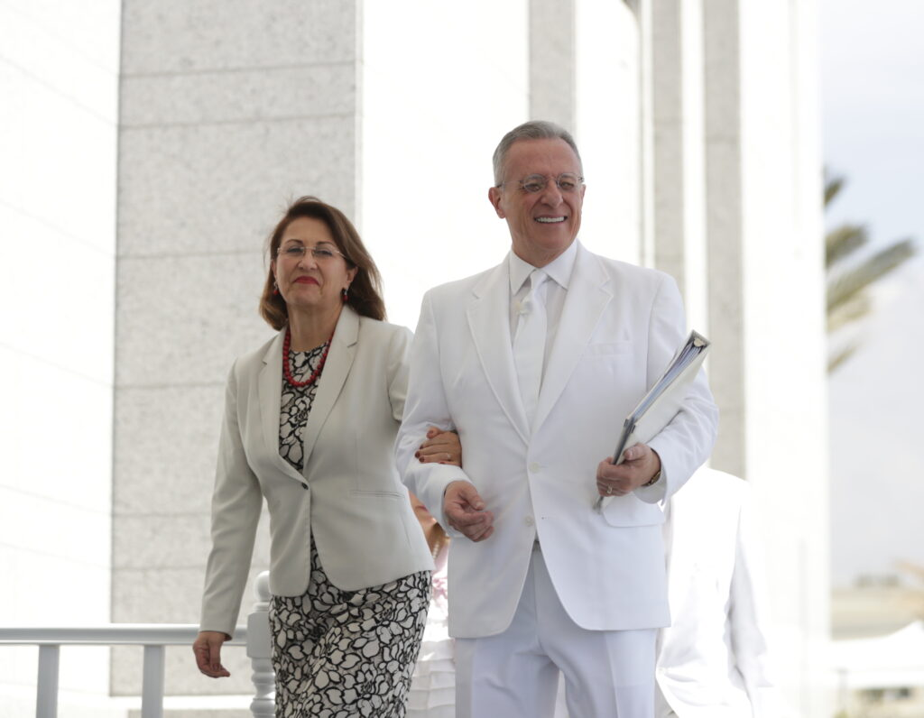 Elder Ulisses Soares and Sister Rosana Soares arrive for the cornerstone ceremony of the Arequipa Peru Temple on Dec. 15, 2019.
