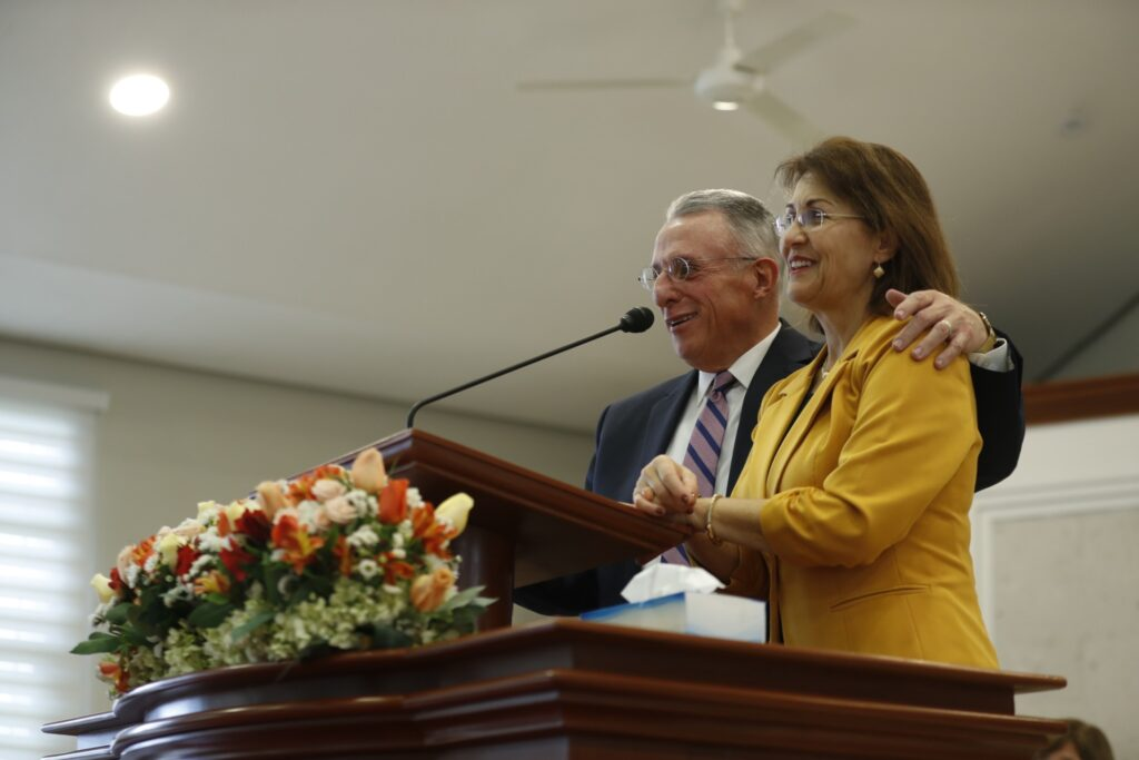 Elder Ulisses Soares and his wife, Sister Rosana Soares, speak to missionaries of the Peru Arequipa Mission on Saturday, Dec. 14, 2019.