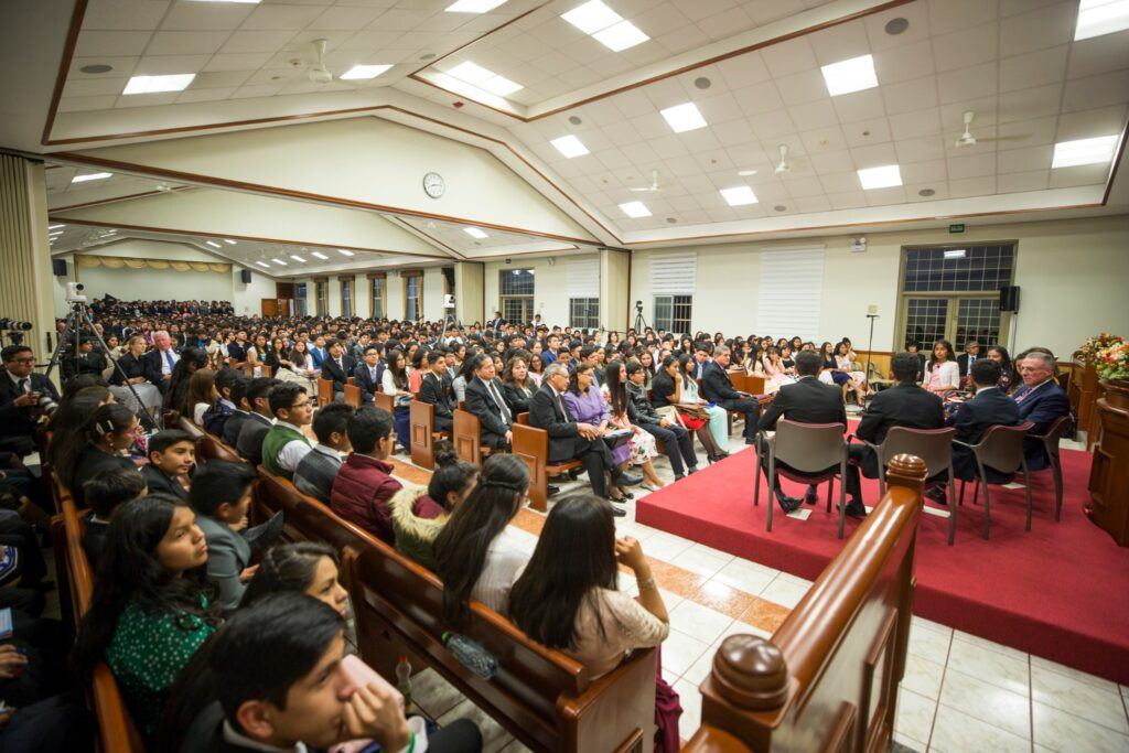 Elder Ulisses Soares and his wife, Sister Rosana Soares, participate in a question-and-answer period with Latter-day Saint youth during the Saturday night devotional on Dec. 14, 2019, prior to the dedication of the Arequipa Peru Temple on Dec. 15.