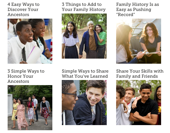 "A new FamilySearch blog page called ""Youth Connecting with Generations"" features quick and simple ideas for youth to get involved in family history."