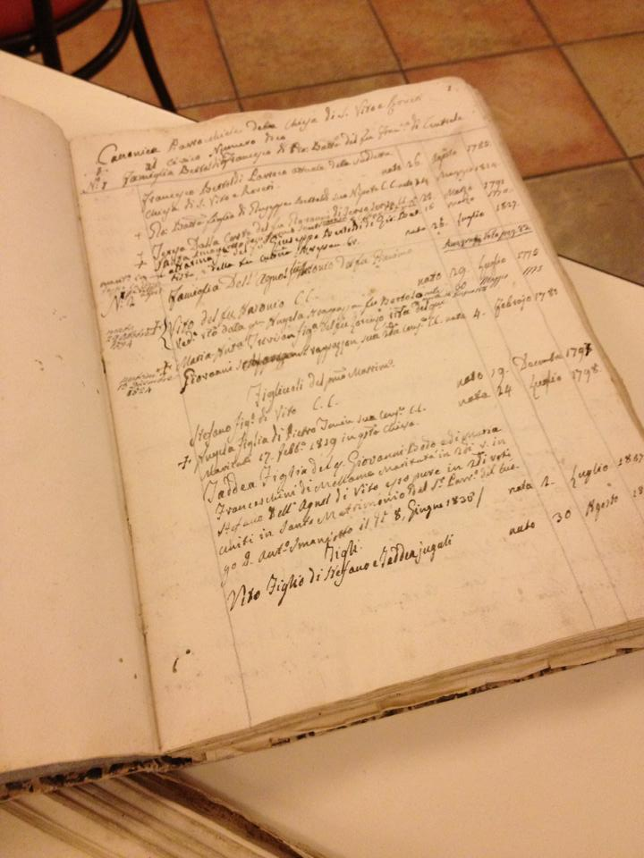 A photo of the inside of a church record book where the Lepore family found names of their ancestors in Italy.