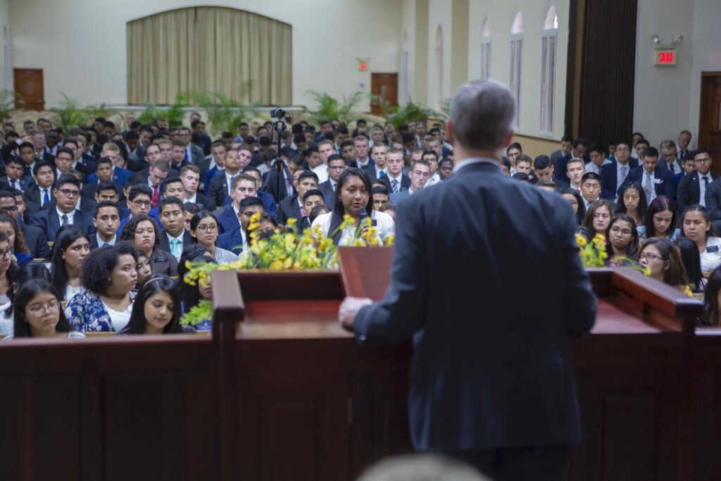 Missionaries listen to Elder David A. Bednar in San Pedro Sula, Honduras, during the apostle's visit to the country in Nov. 2019.