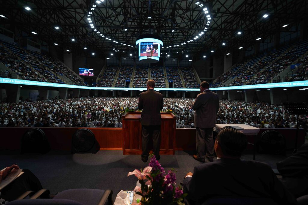 Elder David A. Bednar addresses members in Managua, Nicaragua, during the apostle's visit to the country in Nov. 2019.