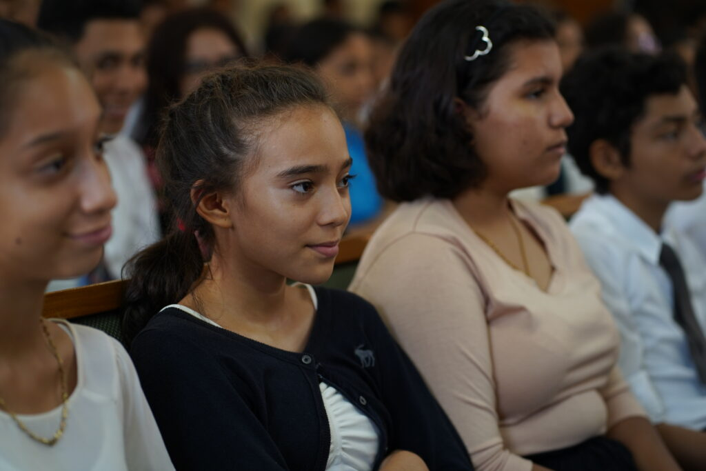 Youth participate in devotional with Elder David A. Bednar in Nicaragua, during the apostle's visit to the country in Nov. 2019.