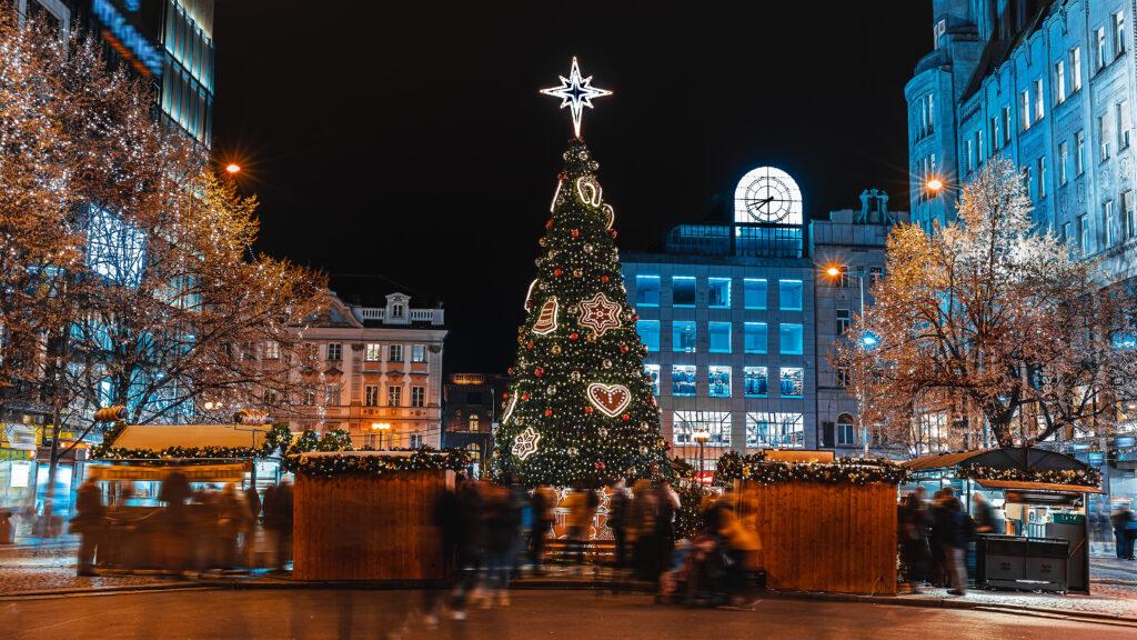 Christmas market on Wenceslas Square in Prague, Czech Republic. Credit: Shutterstock