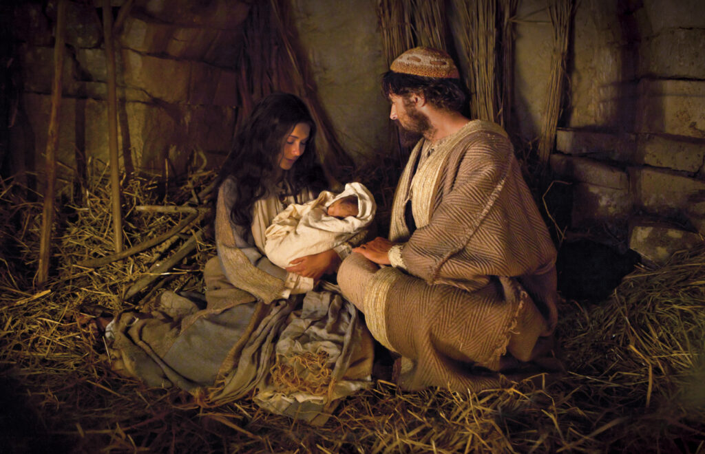 In this scene depicted in the Church's Bible Videos, Joseph and Mary hold the baby Jesus on the night of His birth.