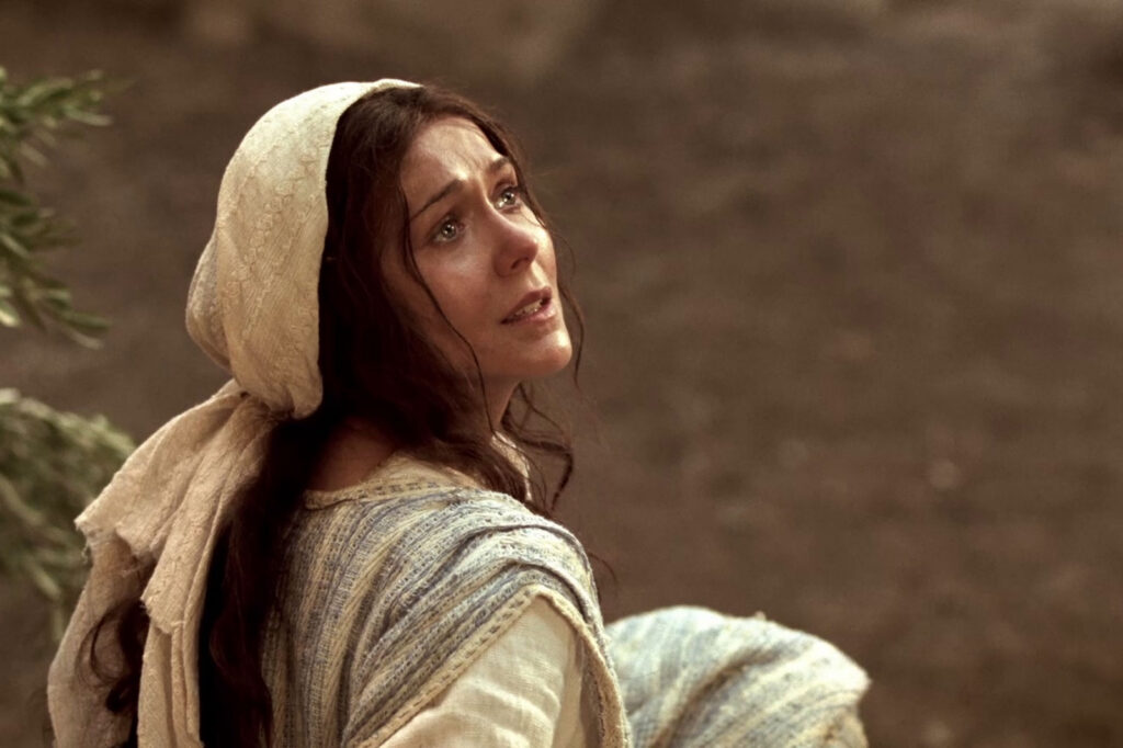 In this scene depicted in the Church's Bible Videos, Mary listens to the angel Gabriel as he foretells of Christ's birth.