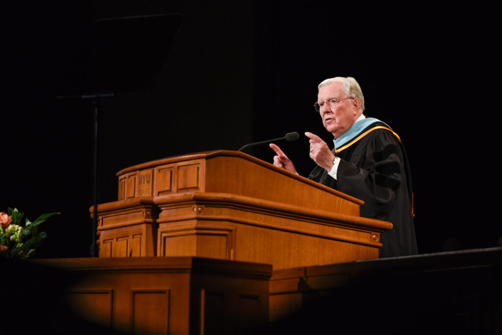 President M. Russell Ballard speaks during BYU–Idaho's fall commencement at the BYU–Idaho Center on Wednesday, Dec. 18, 2019.