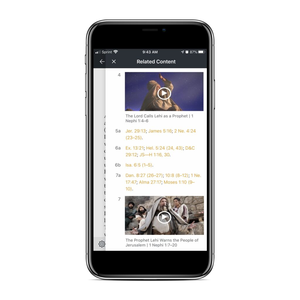 """A chapter in the Book of Mormon on iOS Gospel Library showing associated media in the """"Related Content"""" sidebar."""