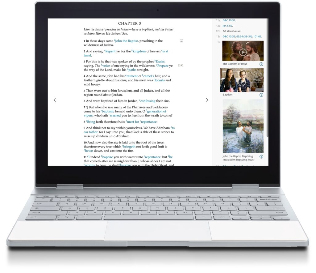 """A chapter in the New Testament on Gospel Library online showing associated media in the """"Related Content"""" sidebar."""