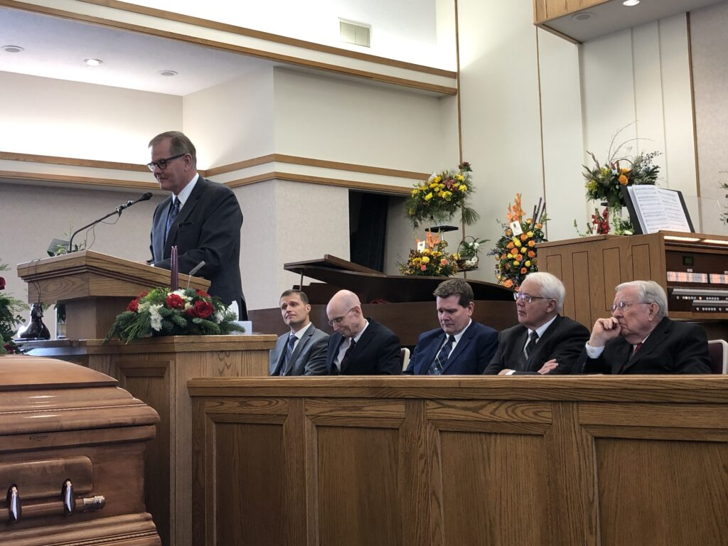 Elder Gary E. Stevenson speaks at the Dec. 18, 2019, funeral of James D. Hansen, Sr., in Ammon, Idaho.
