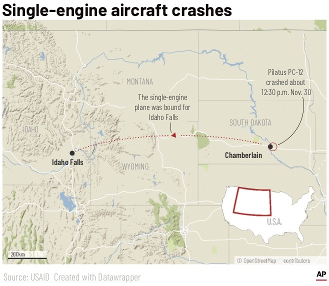 A Pilatus PC-12 carshed about 12:30 p.m. on Saturday, Nov. 30, 2019, near Chaberlain, South Dakota.