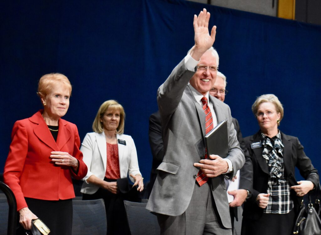 Elder D. Todd Christofferson of the Quorum of the Twelve Apostles waves to missionaries following a Christmas Day devotional at the Provo Missionary Training Center on Dec. 25, 2019, in Provo, Utah.