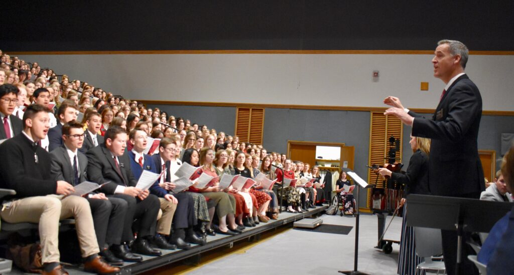 The MTC choir sings during the Christmas Day devotional at the Provo Missionary Training Center on Dec. 25, 2019, in Provo, Utah.