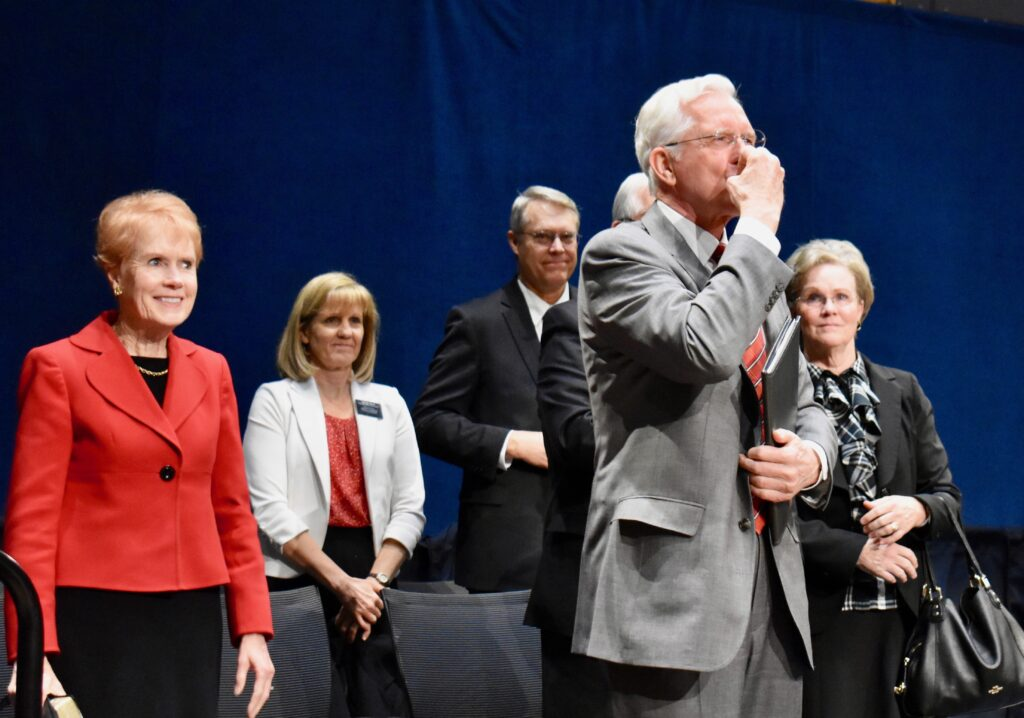 Elder D. Todd Christofferson of the Quorum of the Twelve Apostles blows a kiss to the audience of missionaries following a Christmas Day devotional at the Provo Missionary Training Center on Dec. 25, 2019, in Provo, Utah.