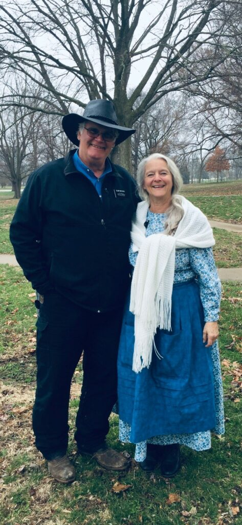 Dressed in period costume worn as part of their volunteer service in historic Nauvoo, Elder Craig L. Meyocks and his wife, Brenda, had been serving in the Illinois Nauvoo Mission since March 2019. Elder Meyocks passed away Thursday, Dec. 26, 2019 following a car accident.