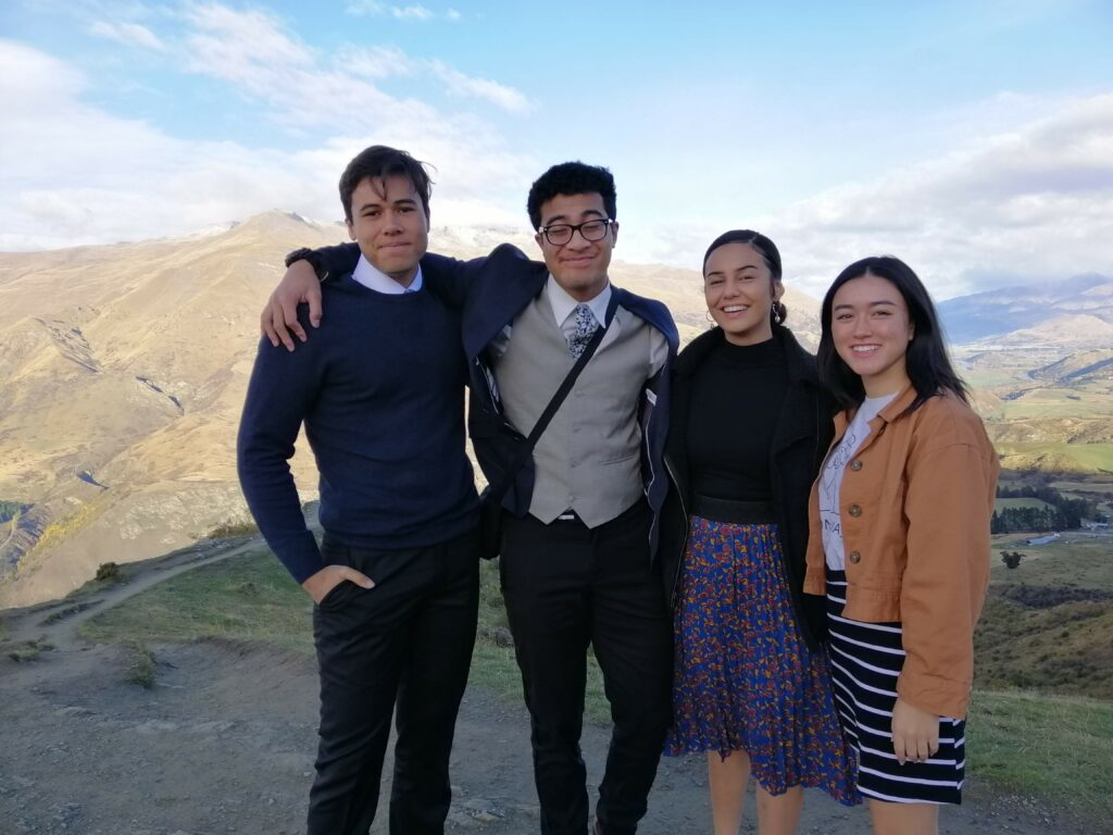 The four Latter-day Saint youth from New Zealand who appear in the 2020 youth theme video are Theo Magalogo, Zyon Lavakula, Melissa Maine, and Huia Shortland.