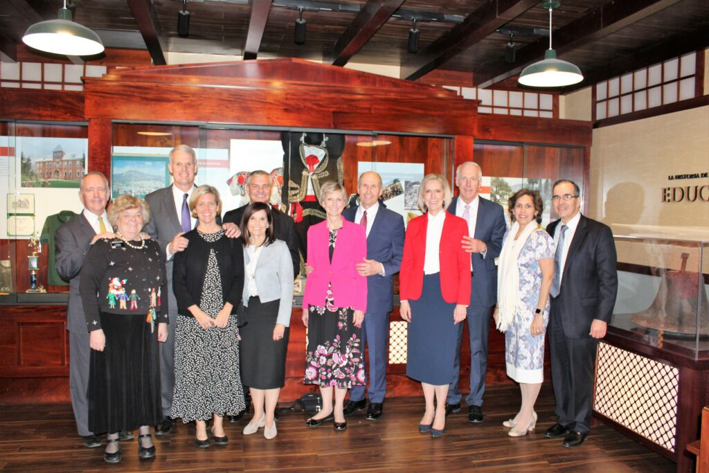 Sister Becky Craven and her husband, Ron Craven, third from left; Sister Jean B. Bingham and her husband, Bruce Bingham, center; and Sister Joy D. Jones and her husband, Robert Jones, second from right, join local church leaders at a museum during a visit to the Mexico Area in December 2019.