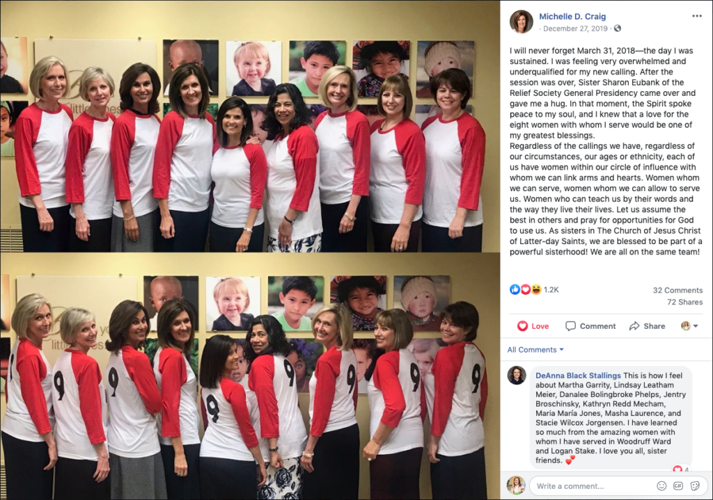Sister Michelle Craig, first counselor in the Young Women general presidency, shared a photo of each member of the Relief Society, Young Women and Primary general presidencies wearing team shirts, in a Dec. 27, 2019, Facebook post.