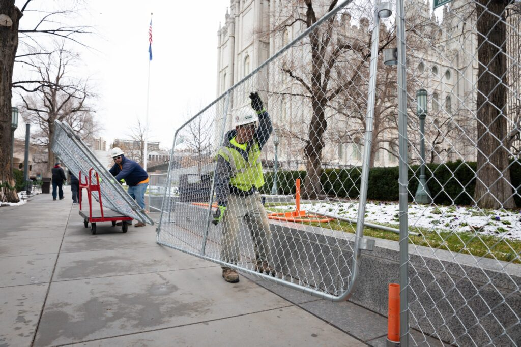 Fencing is being installed around the Salt Lake Temple for an extensive renovation.