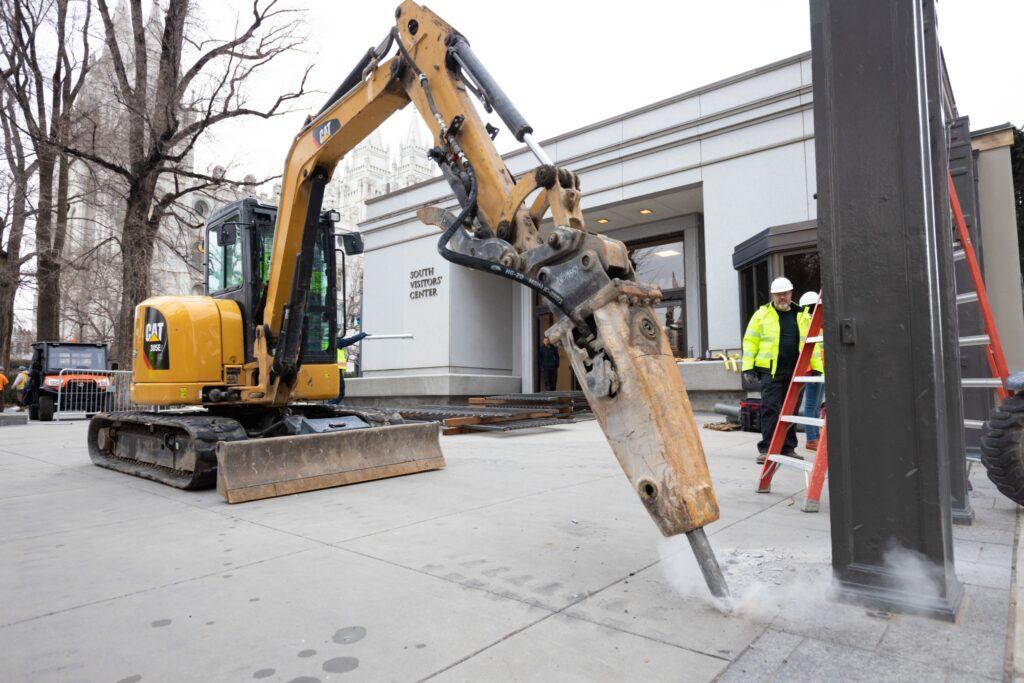 Renovation work is underway around the Salt Lake Temple.