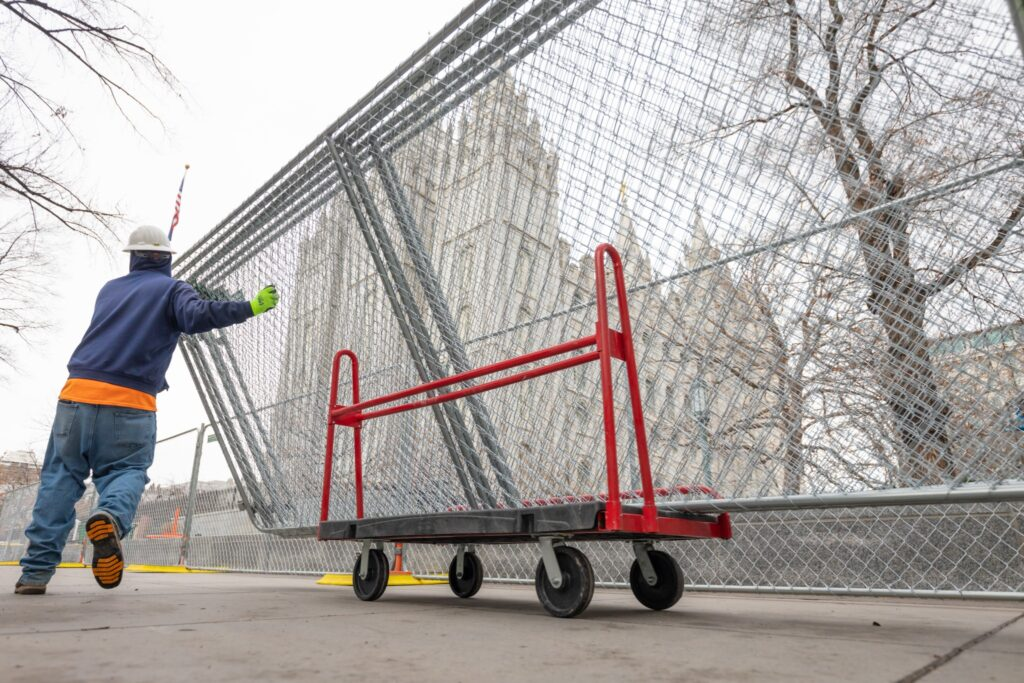 Fences are being installed around the Salt Lake Temple for an extensive renovation.