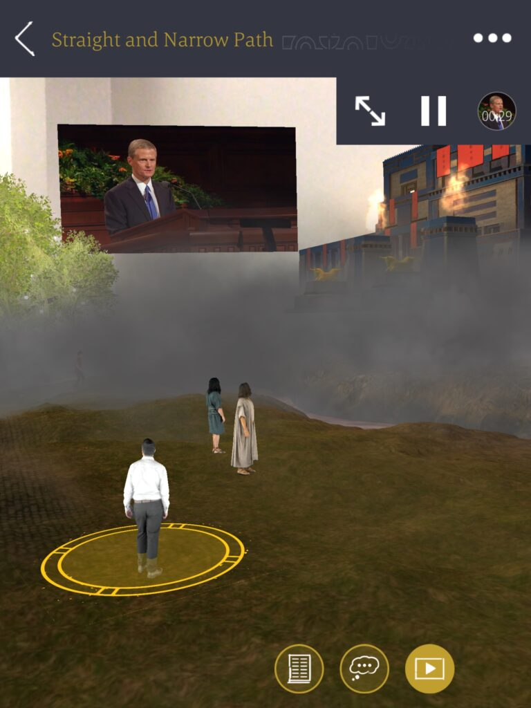 A screenshot from the Tree of Life AR app on a mobile phone. Scriptures, videos, and questions to ponder help you learn more and relate elements of the vision to your life.