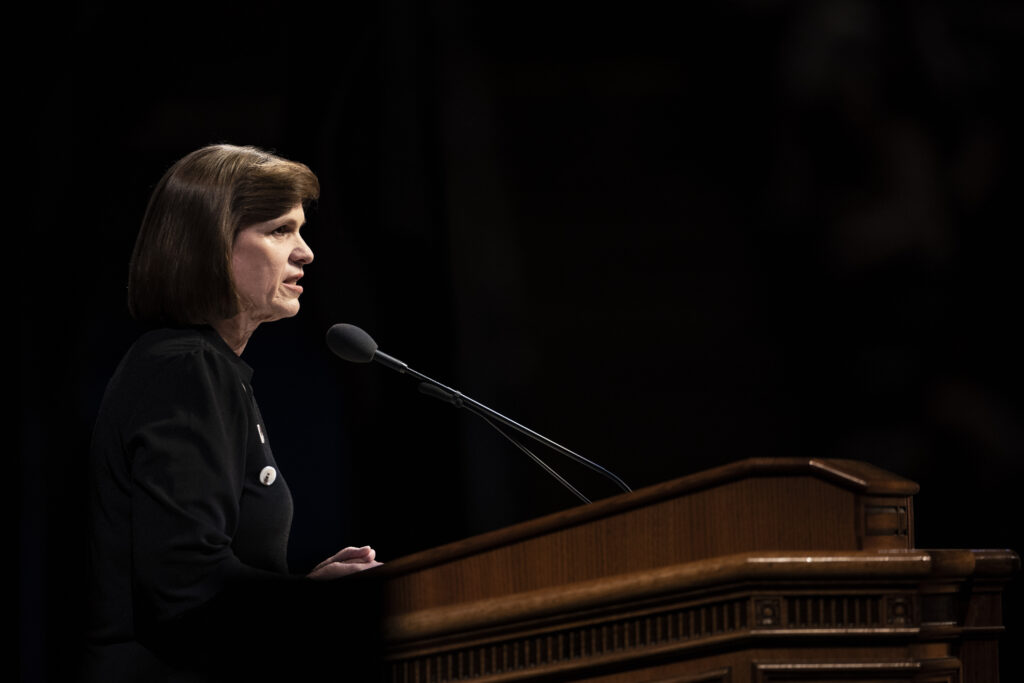 Sister Peggy S. Worthen speaks during a BYU devotional in the Marriott Center in Provo, Utah, on Jan. 7, 2020.