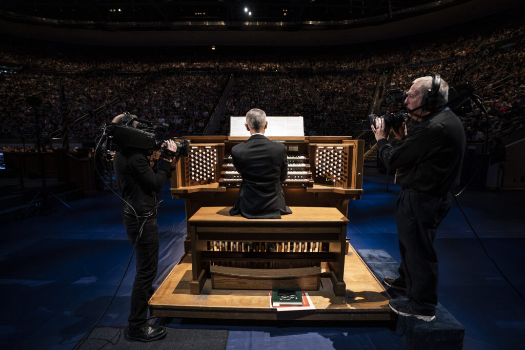 An organist performs during a BYU campus devotional held in the Marriott Center in Provo, Utah, on Jan. 7, 2020.