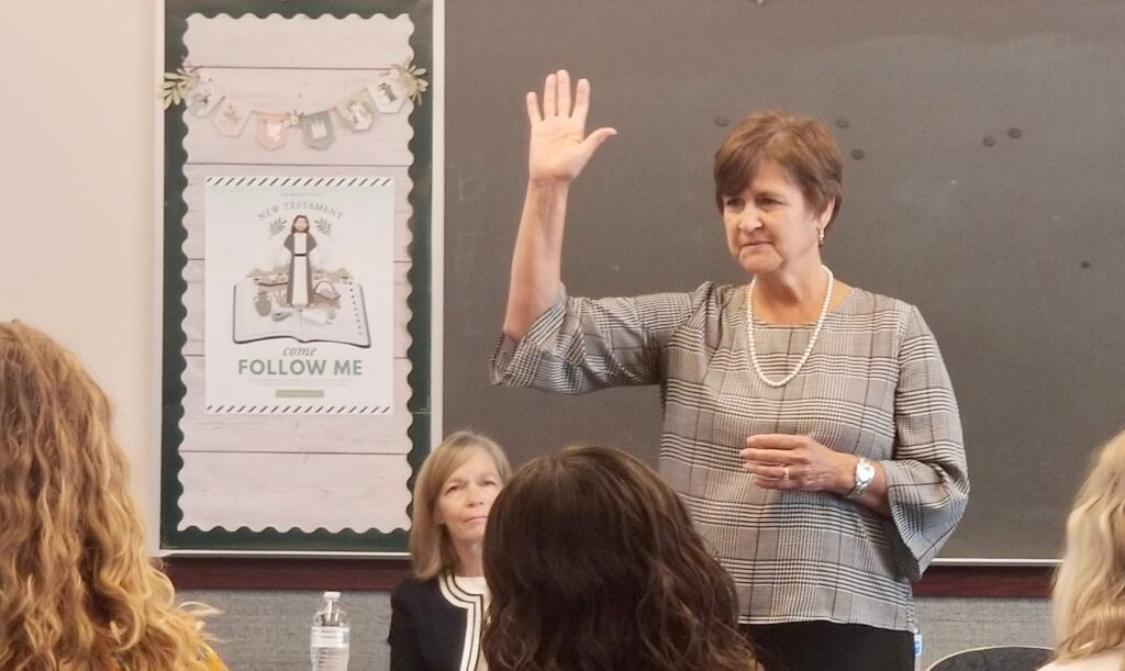 Sister Marcia Nielson, wife of Elder Brent H. Nielson, speaks to sister missionaries during a mission tour in the Tennessee Nashville Mission on Sept. 19, 2019, in Brentwood, Tennessee.
