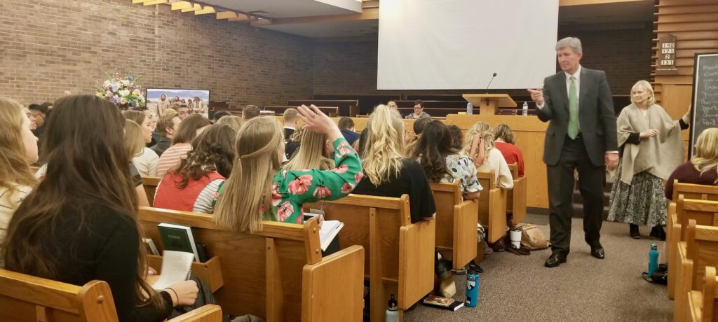 Elder S. Gifford Nielsen and Sister Wendy Nielsen lead a discussion during a Canada Calgary Mission tour conference meeting on Oct. 31, 2019, in Calgary, Canada.