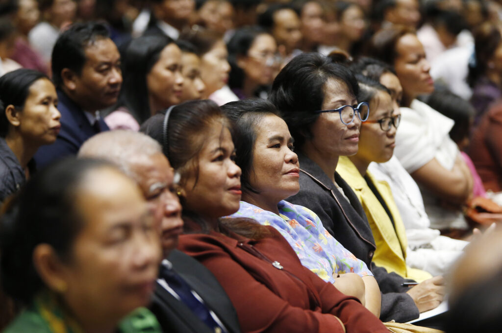 Attendees listen during a devotional with Russell M. Nelson, President of The Church of Jesus Christ of Latter-day Saints, in Bangkok, Thailand on Friday, April 20, 2018.
