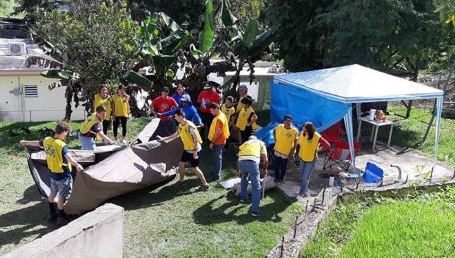 Missionaries and members help construct Church-provided canopies to be used as shelters for Puerto Rican displaced by ongoing earthquakes.