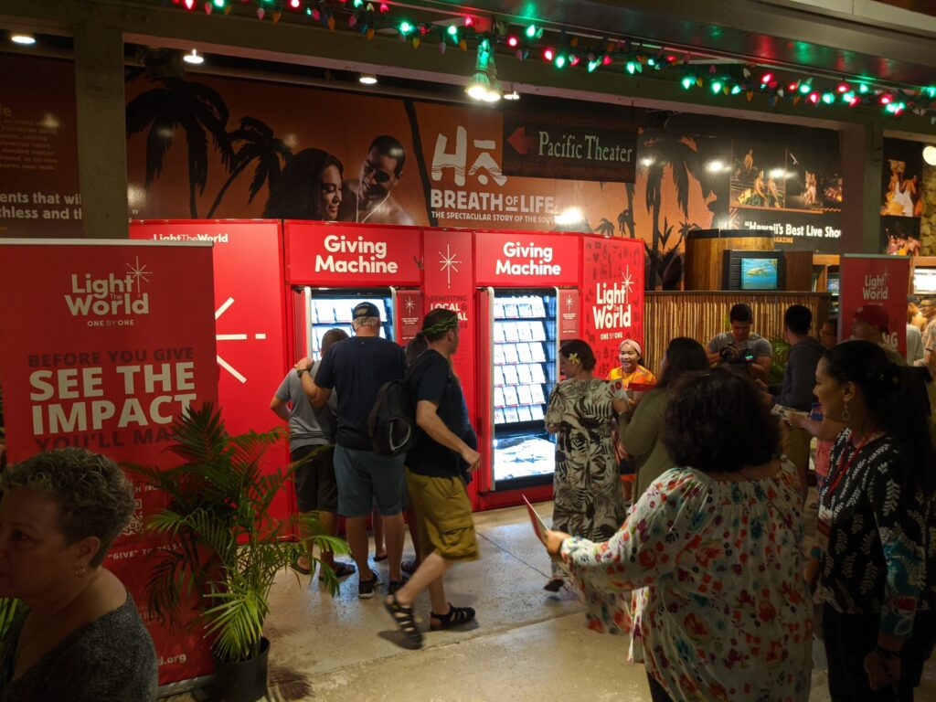 An unveiling event was held for the Giving Machines at the Polynesian Cultural Center in Laie, Oahu, Hawaii, Nov. 20, 2019.