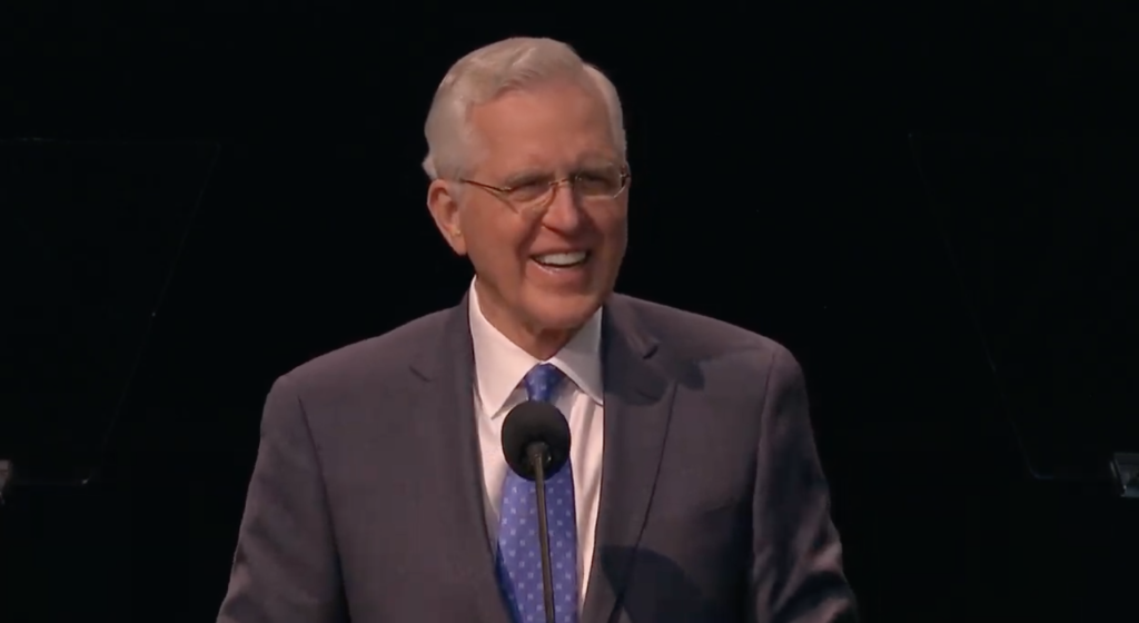 Elder D. Todd Christofferson of the Quorum of the Twelve Apostles speaks during a worldwide devotional for young adults broadcast from the UCCU Event Center in Orem, Utah, on Jan. 12, 2019.