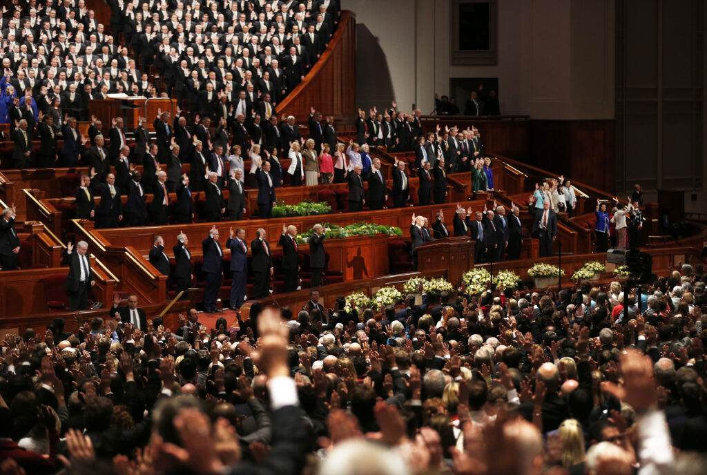Those in the Conference Center sustain the First Presidency and the Quorum of the Twelve Apostles during a solemn assembly in the Conference Center in Salt Lake City on Saturday, March 31, 2018.