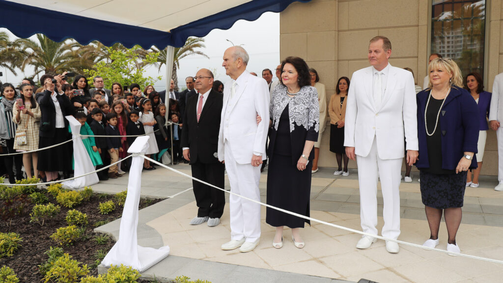 President Russell M. Nelson of The Church of Jesus Christ of Latter-day Saints and his wife Wendy Nelson and Elder Gary E. Stevenson, of the Quorum of the Twelve Apostles and his wife Lesa Stevenson during the dedication of the LDS Concepcion Chili Temple in Concepcion, Chili on Sunday, Oct. 28, 2018.