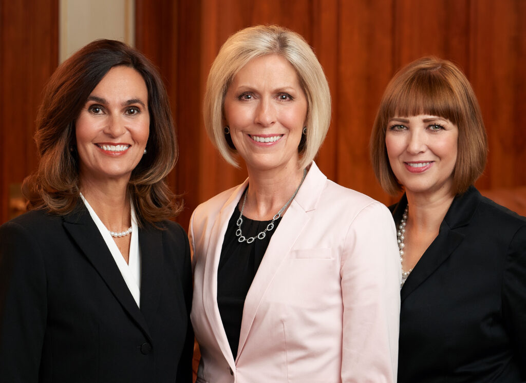 The Primary general presidency: from left, Sister Lisa L. Harkness, first counselor; Sister Joy D. Jones, president; and Sister Cristina B. Franco, second counselor.
