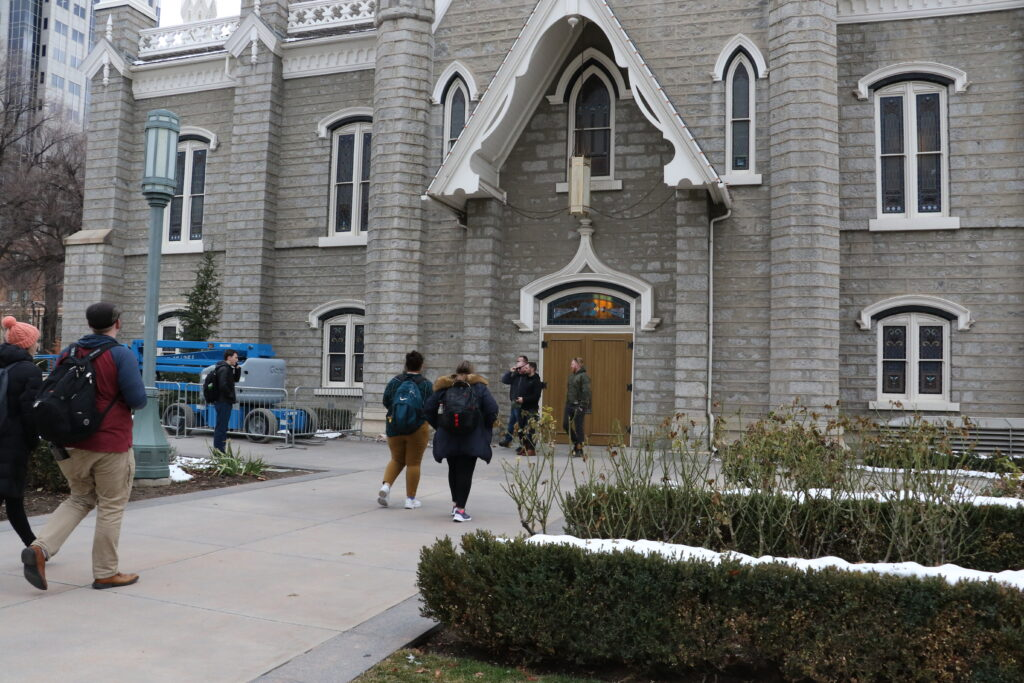 Students arrive at the Assembly Hall on Temple Square before an LDS Business College devotional on Jan. 14, 2020.