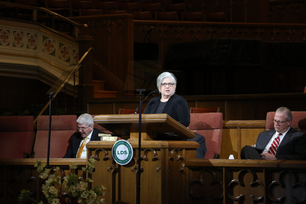 Sister Alynda Kusch speaks during an LDS Business College devotional held in the Assembly Hall at Temple Square on Jan. 14, 2020.