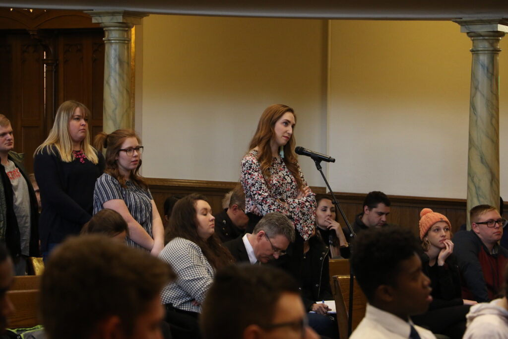 Jessica Myers answers a question during an LDS Business College devotional held in the Assembly Hall at Temple Square on Jan. 14, 2020.