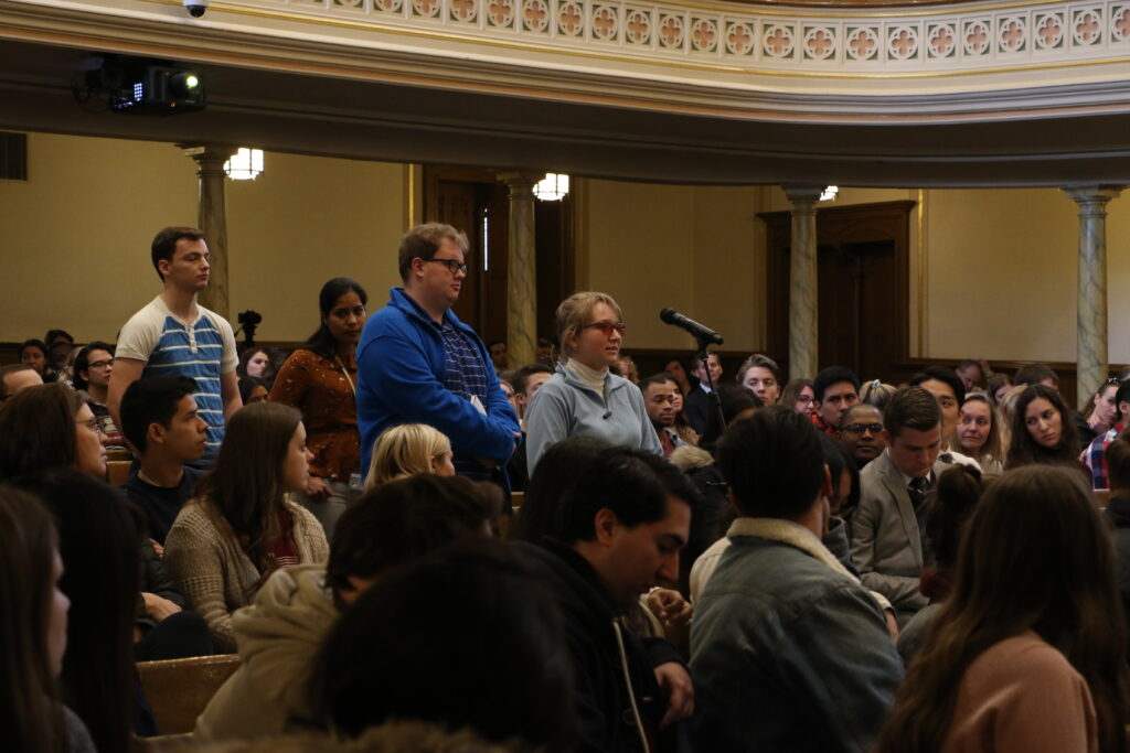 Rebecca Both answers a question during an LDS Business College devotional held in the Assembly Hall at Temple Square on Jan. 14, 2020.