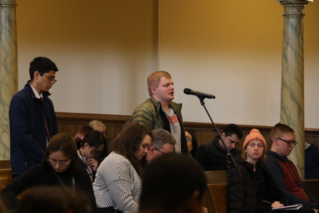 Isaiah Raisor answers a question during an LDS Business College devotional held in the Assembly Hall at Temple Square on Jan. 14, 2020.