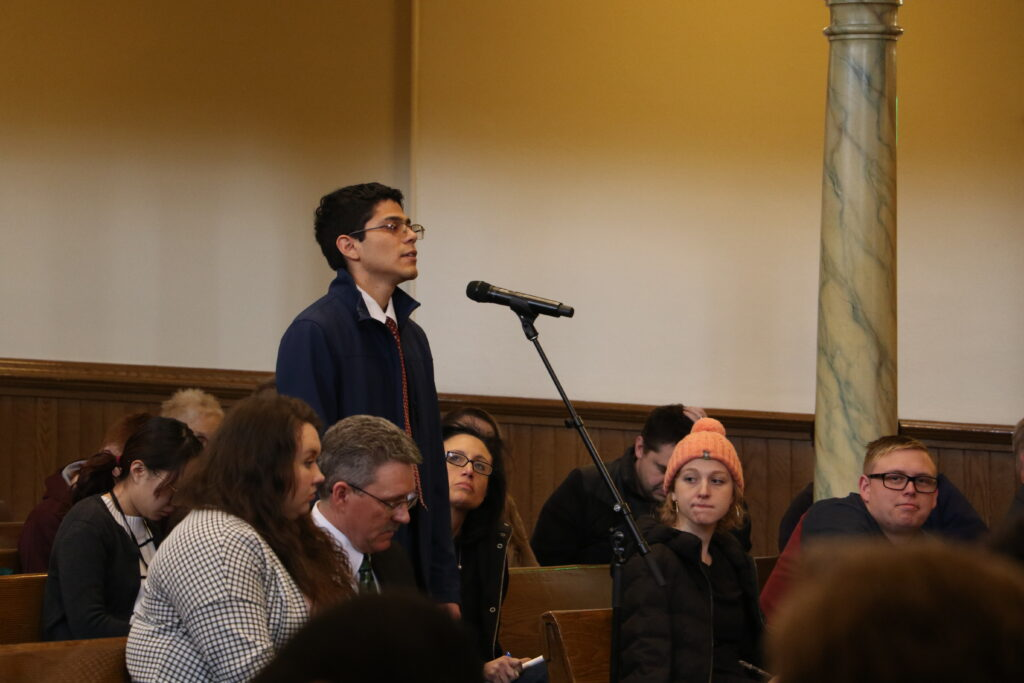 Isaac Aguilar answers a question during an LDS Business College devotional held in the Assembly Hall at Temple Square on Jan. 14, 2020.