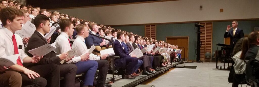 A choir of missionaries at the Provo Missionary Training Center perform during a Jan. 14, 2020, devotional with Elder Dale G. Renlund of the Quorum of the Twelve Apostles in Provo, Utah.