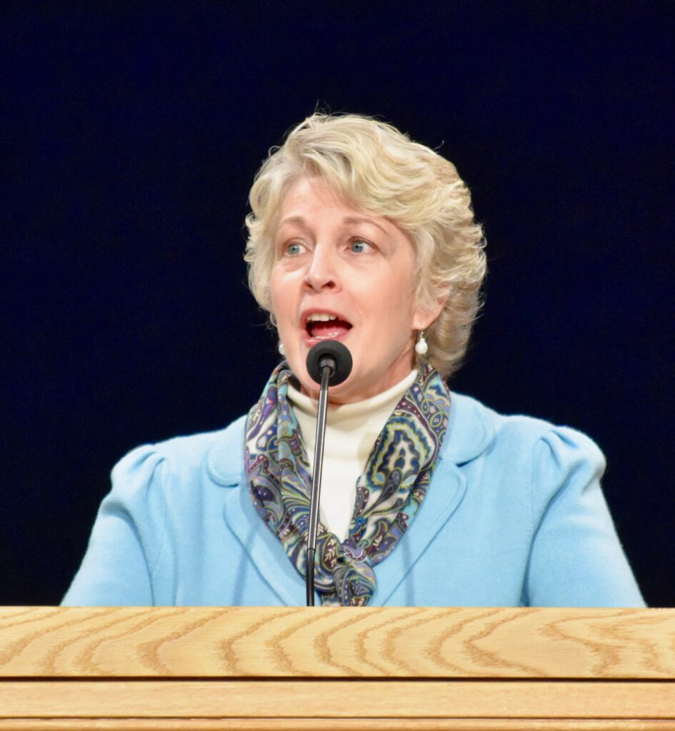 Sister Ruth Renlund, wife of Elder Dale G. Renlund, speaks during a Jan. 14, 2020, devotional at the Provo Missionary Training Center in Provo, Utah.